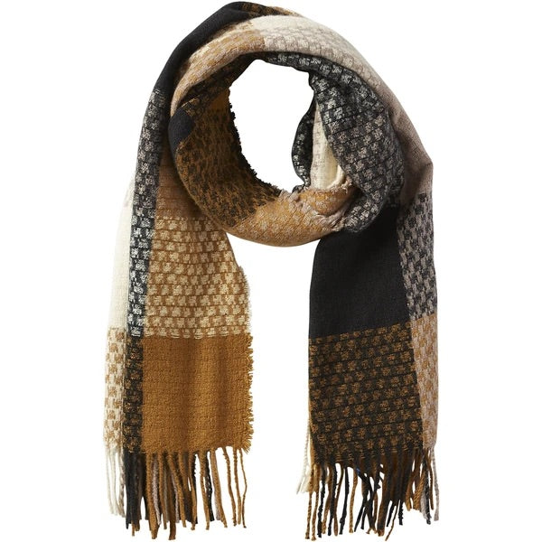 Gold Oakley Plaid Fringe Scarf