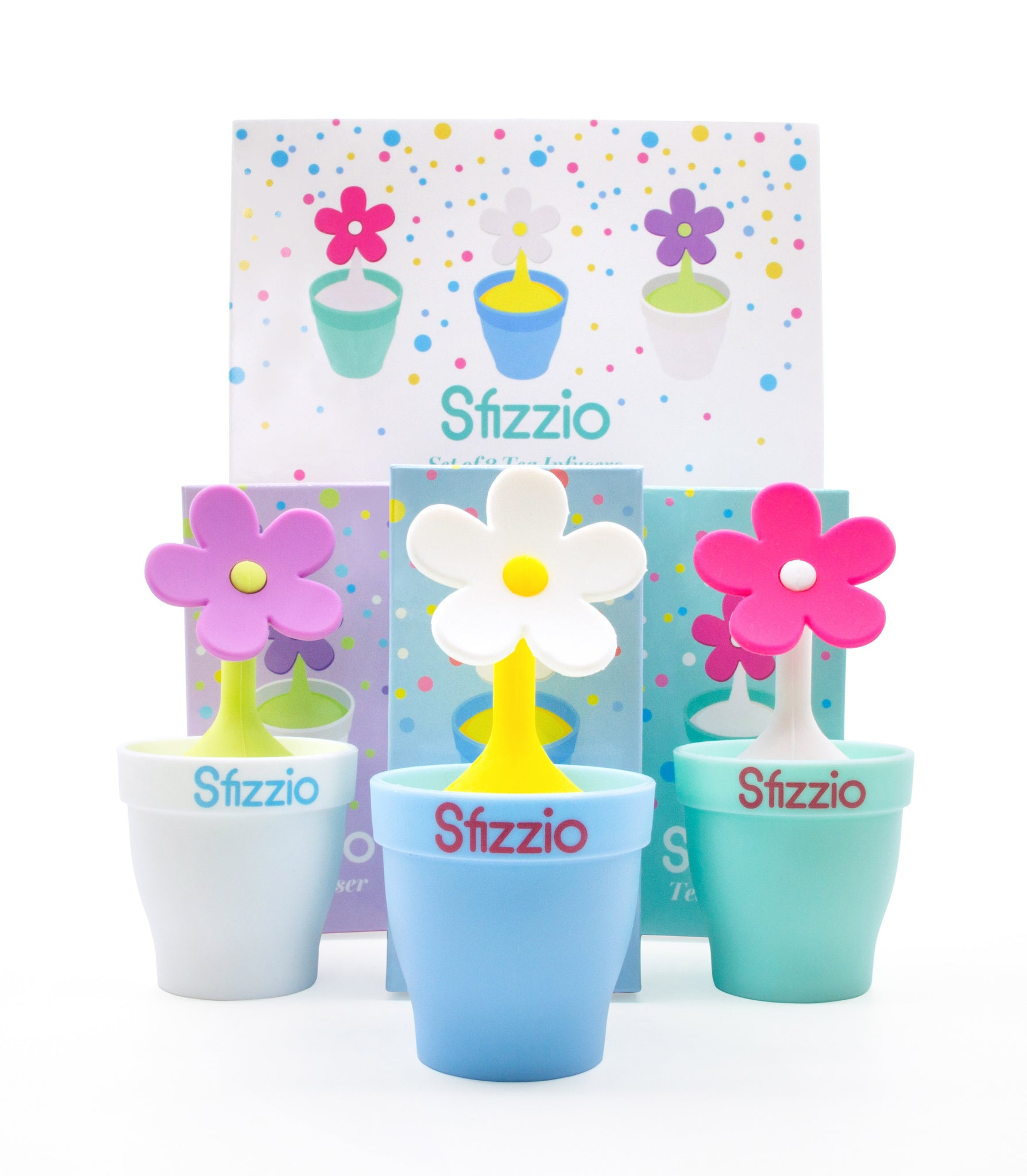 Sfizzio Set of 3 Daisy Tea Infusers with Flower Pot Drip Tray