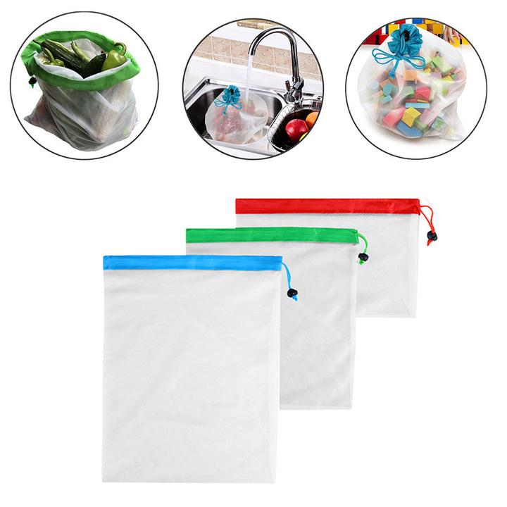 Reusable Zip Lock Mesh Bag (3Pcs)