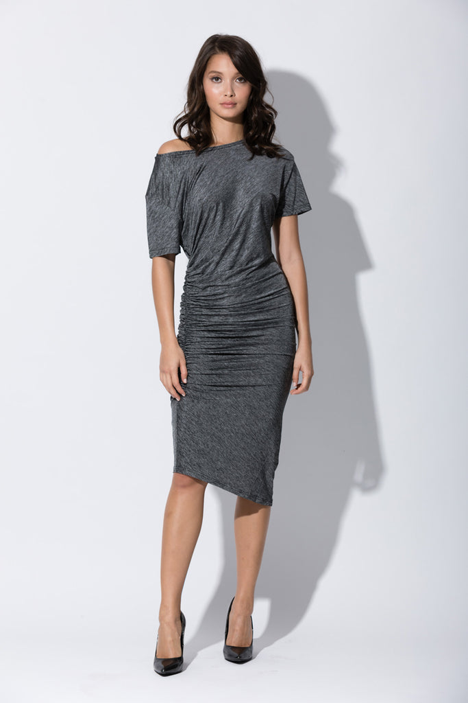 grey striped casual dress