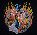 EXECUTIONER WITH AXE & FLAMES BLACK SHORT SLEEVE  TEE-SHIRT (Sold by the piece) CLOSEOU NOW 2.50 EA