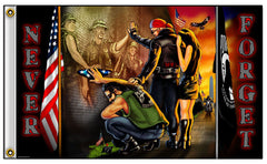POW MIA REFLECTION NEVER FORGET DELUXE 3' X 5' BIKER FLAG (Sold by the piece)