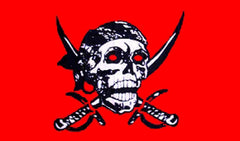 CRIMSON w SWORDS PIRATE 3' X 5' FLAG (Sold by the piece) -* CLOSEOUT NOW ONLY $2.95 EA