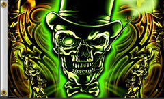 GLOWING GREEN SKULL DELUXE 3' X 5' BIKER FLAG (Sold by the piece)