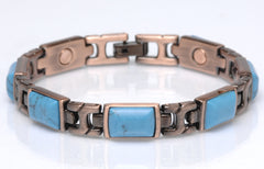 COPPER MAGNETIC TURQUOISE LINK BRACELET style #TQ-R (sold by the piece )