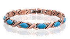 SOLID COPPER MAGNETIC TURQUOISE LINK BRACELET style #TQ-D (sold by the piece )