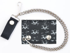 MULTI SKULL AND CROSS BONES  TRIFOLD LEATHER WALLETS WITH CHAIN (Sold by the piece)