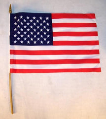AMERICAN 6 X 9 INCH CLOTH FLAG ON A STICK (Sold by the dozen) *- CLOSEOUT NOW ONLY 40 CENTS EA