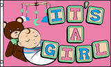 TEDDY BEAR ITS A BABY GIRL  3' X 5' FLAG (Sold by the piece)
