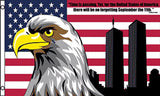 AMERICAN 911 NEVER FORGET EAGLE TOWERS  3 X 5 FLAG ( sold by the piece )