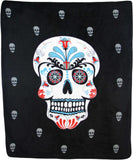 SUGAR SKULL LARGE 50X60 IN PLUSH THROW BLANKET ( sold by the piece )
