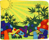 MARIJUANA POT LEAF & MUSHROOMS FEILD LARGE 50X60 IN PLUSH THROW BLANKET ( sold by the piece )