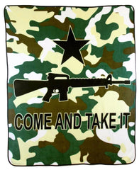 CAMOUFLAGE COME AND TAKE IT RIFLE GUN LARGE 50X60 IN PLUSH THROW BLANKET ( sold by the piece )