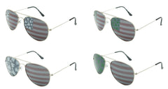 AMERICAN FLAG MARIJUANA POT LEAVES LENS AVIATOR SUNGLASSES ( sold by the dozen or piece )