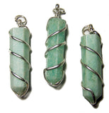 AMAZONITE COIL WRAPPED POINT STONE PENDANT (sold by the piece or bag of 10 )