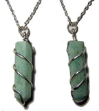 AMAZONITE COIL WRAPPED STONE 18 INCH SILVER CHIAN NECKLACE (sold by the piece or dozen )