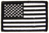 AMERICAN FLAG BLACK & WHITE left arm 3 INCH EMBROIDERED PATCH ( sold by the piece )