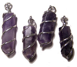 AMETHYST COIL WRAPPED POINT STONE PENDANT (sold by the piece or bag of 10 )