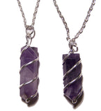 AMETHYST COIL WRAPPED STONE 18 INCH SILVER CHIAN NECKLACE (sold by the piece or dozen )
