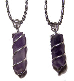 AMETHYST COIL WRAPPED STONE STAINLESS STEEL BALL CHIAN NECKLACE (sold by the piece or dozen )
