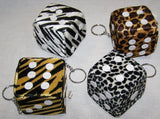 PLUSH ANIMAL PRINT DICE KEY CHAIN (Sold by the dozen) *- CLOSEOUT NOW 50 CENTS EA