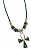 ANKH CROSS PAUA SHELL  ROPE NECKLACE (Sold by the piece or dozen) CLOSEOUT AS LOW AS 75 CENTS EA