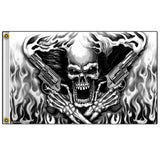 ASSASSIN SMOKING PISTOLS SKULL DELUXE 3' X 5' BIKER FLAG (Sold by the piece  ) *- CLOSEOUT NOW $5.00 EA