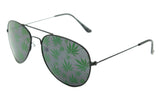 MARIJUANA POT LEAVES LENS AVIATOR SUNGLASSES ( sold by the dozen or piece )