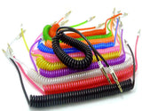 DELUXE COILED 6 FOOT AUX AUXILLARY CABLE CORDS ( sold by the piece or dozen )