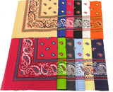 TWO TONE ASSORTED PAISLEY COLORED BANDANNA ( sold by the dozen ) BANDANA