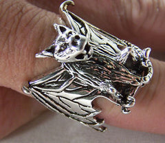 BAT WITH OPEN WINGS BIKER RING (Sold by the piece)