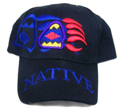 BEAR CLAW SYMBOL NATIVE PRIDE EMBROIDERED BASEBALL HAT (Sold by the piece) -* CLOSEOUT $2.50 EA