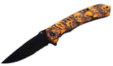 MULTIPLE ORANGE SKULL HEAD BLACK BLADE KNIFE ( sold by the piece )