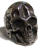 BIG SKULL HEAD  STAINLESS STEEL BIKER RING ( sold by the piece )