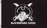 BLACK BEARD LIVES pirate  3 X 5 FLAG ( sold by the piece ) *- CLOSEOUT NOW $ 2.95 EA