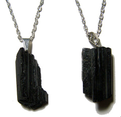 TOURMALINE ROUGH NATURAL MINERAL STONE 24 IN SILVER LINK CHAIN NECKLACE (sold by the piece or dozen )