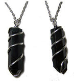 BLACK OBSIDIAN WRAPPED STONE 18 INCH SILVER CHIAN NECKLACE (sold by the piece or dozen )