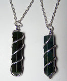 BLOOD STONE  COIL WRAPPED STONE 18 INCH SILVER CHIAN NECKLACE (sold by the piece or dozen )