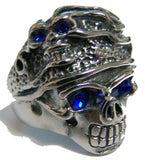 BLUE EYES SKELETON W SKULL HEAD HAT STAINLESS STEEL BIKER RING ( sold by the piece )