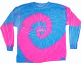 BLUE / PINK SWIRL LONG SLEEVE TYE DYE TEE SHIRT ( sold by the piece )