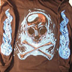 BLUE SKULL X BONE LONG SLEEVE TEE SHIRT (Sold by the piece) MEDIUM ONLY