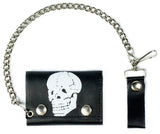 BONE HEAD SKULL TRIFOLD LEATHER WALLETS WITH CHAIN (Sold by the piece)