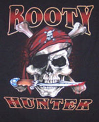 BOOTY HUNTER SKULL X BONES SHORT SLEEVE TEE SHIRT (Sold by the piece) *- CLOSEOUT $ 2.50 EA - LARGE ONLY