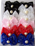 GIRLS LACE HAIR BOW BARRETTS (Sold by the dozen )