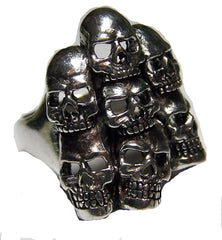 STACKED SKULLS DELUXE BIKER RING (Sold by the piece) *