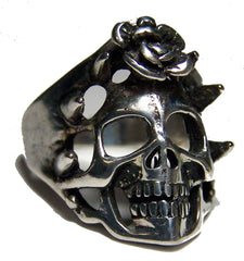 SKULL WITH ROSE BIKER RING  (Sold by the piece) *