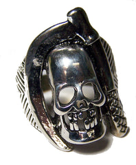 SKULL WITH SICKLE BIKER RING  (Sold by the piece) *