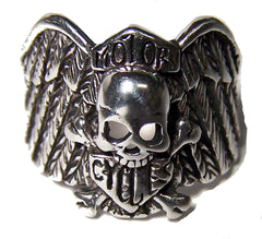 SKULL WING MOTOR CYCLE SHIELD BIKER RING (Sold by the piece)