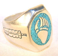 TURQUOISE INLAY BEAR CLAW BIKER RING (Sold by the piece)