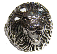 LION HEAD DELUXE SILVER BIKER RING (Sold by the piece) *